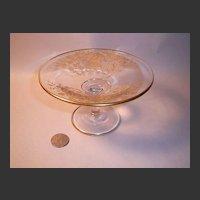 Vintage Gold-Enrusted Etched Crystal Compote