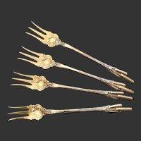 Set (4) Rare Durgin Cattails Cocktail Forks  Gold Wash Tines