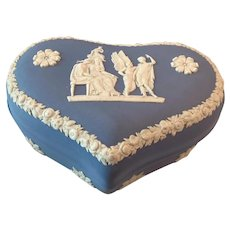 "Wedgwood Jasperware Heart  Shaped Box ""Icarus's Sacrifice to Ceres"""