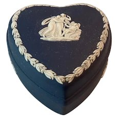 "Wedgwood Portland Blue Jasperware Heart Shaped Box ""Cupid Asleep"""