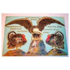 Thanksgiving National Birds Postcard, Eagle, Turkey Unused