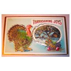 Thanksgiving Postcard, Samson Bros. Turkey, Farm House, Glitter