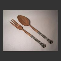 Gorham  Chantilly Salad Set, Sterling & Walnut