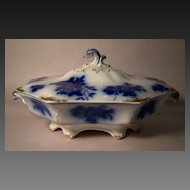 GIRONDE Flow Blue Oval Covered Vegetable by W.H.Grindley&Co.