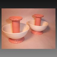 Pair Vintage,Unusual Pink & White Candle Holders