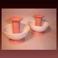 Pair Vintage,Unusual Pink & White Candle Holders