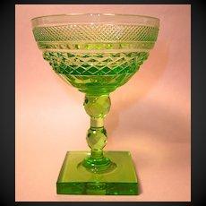 Carder Era Steuben Green Cut Champagne or sherbet, #7346