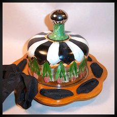 MacKenzie Childs Early Cheese Board & Glass Dome