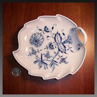 Meissen Blue Onion Cross-Sword Mark Leaf Candy Dish