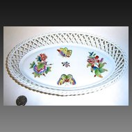 Herend Queen Victoria Large Basket Weave Oval Tray