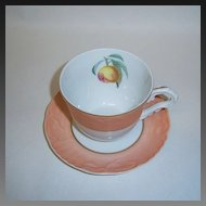 Mottahedeh Summer Fruit Cup & Saucer, Peach