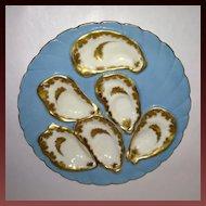 Haviland & Co Powder Blue & Gold Oyster Plate