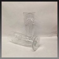 Superb Pair French St. Louis Cut Crystal Flower Vases