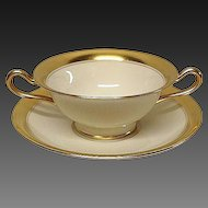 Lenox Gold Encrusted Pattern 86 1/2 Bouillon Cup & Saucer