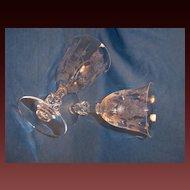 Pair Heisey ROSE Water Goblets