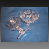 Pair Heisey ROSE Low Sherbets Champagnes