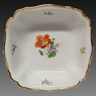 Vintage Meissen Floral Square Bowl, #K20, Flowers
