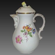 Vintage Meissen Coffee Pot, Flowers, First Quality