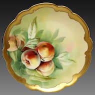 Stunning Pickard Hand Painted Limoges Plate Signed, Peaches