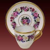 Bernardaud Floral Demitasse Cup & Saucer Ovington Bros