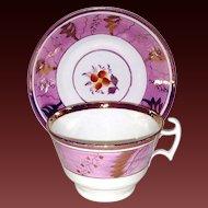 Lovely Porcelain Pink Lustreware Cup & Saucer
