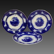 "Set (3) Lovely  Amoy Flow Blue 7 1/4"" Dessert Plates"