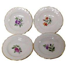 Set (4) Royal Copenhagen Light Saxon Flowers Butter Pats