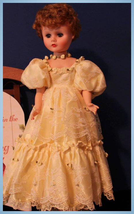 Vinyl Fashion Doll in yellow lace and satin gown - 24 Inches tall ...