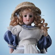 "Antique German ""Alice in Wonderland"" 8 "" doll-Perfect-Porcelain head, arms legs"