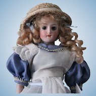 """Antique German """"Alice in Wonderland"""" 8 """" doll-Perfect-Porcelain head, arms legs"""