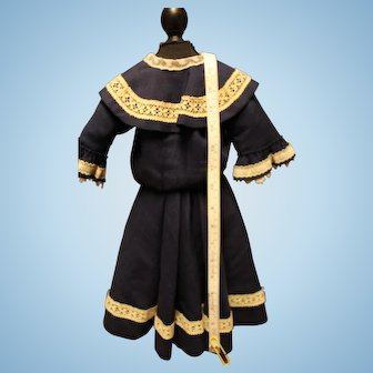 French Fashion or German doll/two piece dress - large size/lined