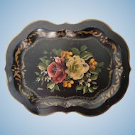 Old painted Toleware tray - see pictures for size