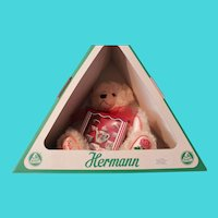 "Hermann Bear, German, ""ENGLISH ROSE""-wool fabric- Mint in original box"