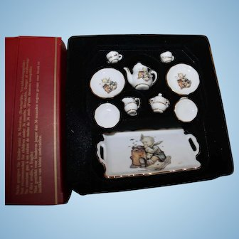 Miniature china tea set,  Hummel Theme,  MIB