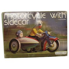 Tin Motorcycle with Sidecar - wind up toy, like new