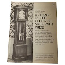 Grand-Father Clock pattern / wooden/ 1973-like new!