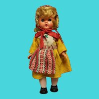 "Vintage Swedish Hard Plastic Doll 8"" in Swedish costume-A walker doll -Exc condition"