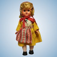 """Vintage Swedish Hard Plastic Doll 8"""" in Swedish costume-A walker doll -Exc condition"""