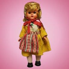 "Vintage Swedish Hard Plastic Doll 8"" in Swedish costume-Exc condition"