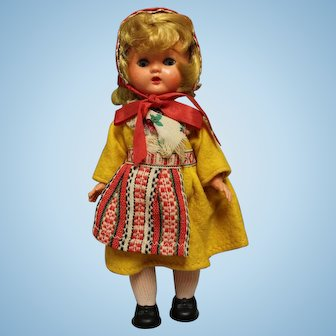 "Vintage Swedish Hard Plastic Doll 8"" in Swedish costume-Exc condition"