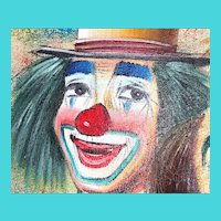 Original Clown painting 21 x 25 inches- by Bob Kelley-Large in wooden frame