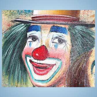 Clown painting by Bob Kelley-Large in wooden frame