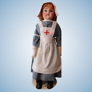 JDK Shoulder head doll in nursing costume,  Red Mohair Wig-24 inches tall