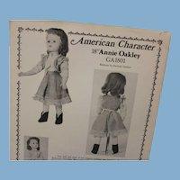 "Never cut - American Character 18"" Annie Oakley pattern, fits 18* Alexander ""Binnie"" doll"