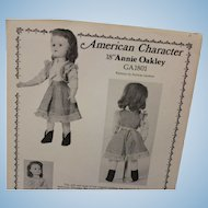 "American Character 18"" Annie Oakley pattern, fits 18* Alexander ""Binnie"" doll"