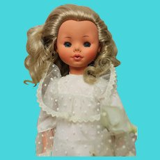 Furga Doll - 17 inches- bridal outfit, exc. condition- with headdress-original stand