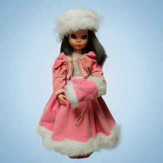 "Furga doll in pink/white Winter outfit.  Approx. 17"" tall/Very good condition, long brown hair."