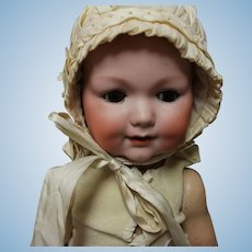"""Vintage Baby Bonnet in off white silk fabrics for larger doll-approx. 14.5"""" diameter"""