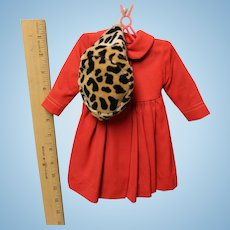 Madame Alexander TAGGED red coat, VG Condition with animal print Hat