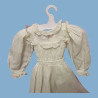 White Dress - Vintage white dress for small antique doll - very nice